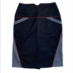 Midori Black/Grey High Waisted Zip Up Pencil Skirt
